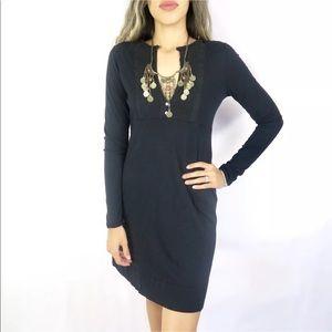 Lucky Brand Black V-Neck Shift Dress Long Sleeve